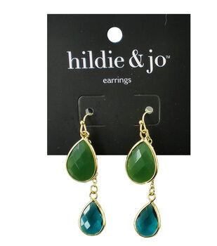 hildie & jo Gold Earrings-Green & Blue Stones
