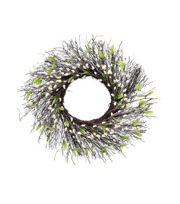 Fresh Picked Spring 22'' Pussy Willow & Twig Wreath