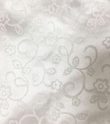 Glitterbug Fabric-Satin Print White