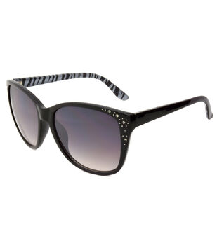 Sunglasses with Square Frame-Solid Black & Zebra Print