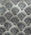 Silky Stretch Satin Textured Fabric-Black Arches
