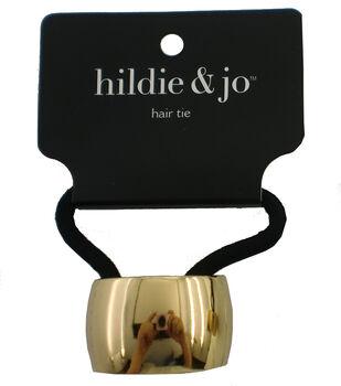 hildie & jo Black Ponytail Hair Tie with Gold Cuff