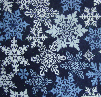 Holiday Cotton Fabric -Glitter Stamped Flakes