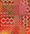 Shirting Cotton Fabric-Gold Foil Blocks on Orange & Pink