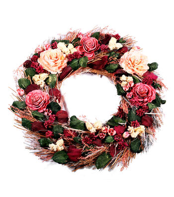 Blooming Autumn Dried Wreath-Rich Red