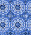 Snuggle Flannel Fabric -Medallion on Light Blue