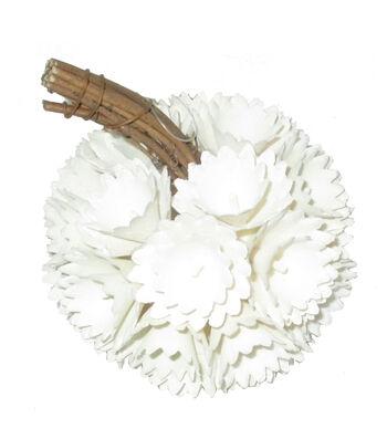 Simply Autumn Extra Small Plastic Woodchip Pumpkin-White