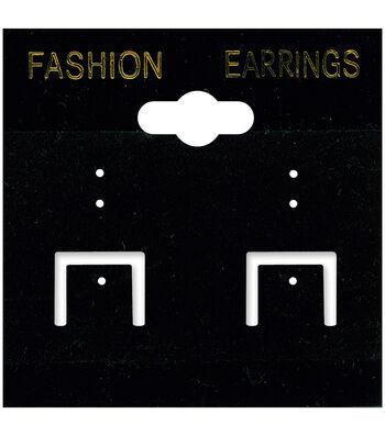"""Darice Earring Cards 2""""X2"""" 100/Pkg-PVC/Black Velvet"""