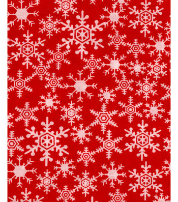 Christmas Cotton Fabric -Snowflakes Red