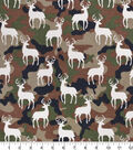 Snuggle Flannel Fabric -Stag Silhouette on Camouflage