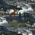 Novelty Cotton Fabric-Realistic Dinosaurs