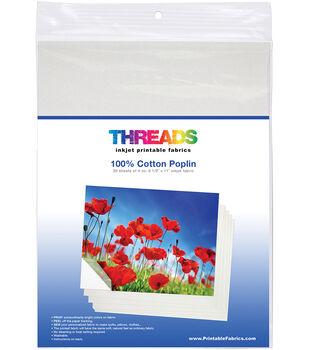 THREADS 30 pk Cotton Poplin Inkjet Printable Fabric Sheets 8.5''x11''