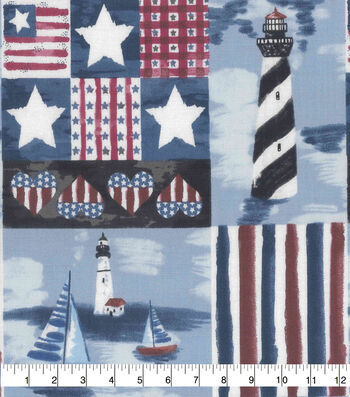 Patriotic Cotton Fabric 43''-Patriotic Beachside
