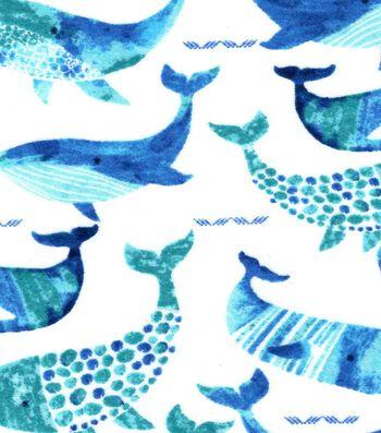 Nursery Flannel Fabric 42''-Gordan Whale