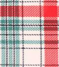 Anti-Pill Fleece Fabric -Cream Red Green Plaid