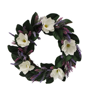 Fresh Picked Spring 19'' Magnolia & Lavender Wreath