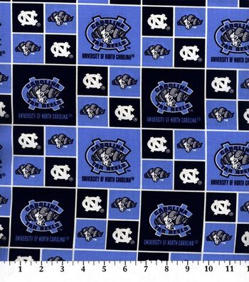 University of North Carolina Tar Heels Cotton Fabric -Block
