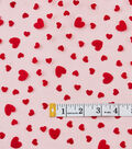 Spring Tulle Fabric 31\u0022-Flocked Hearts On Red