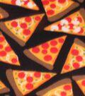 Blizzard Fleece Fabric 59\u0022-Pizza Party On Black