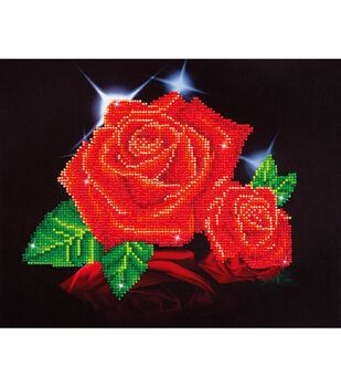 "Diamond Embroidery Facet Art Kit 17""X13.7""-Red Rose Sparkle"