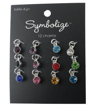 hildie & jo Symbolize 12 Pack Mini Round Silver Birthstone Charms