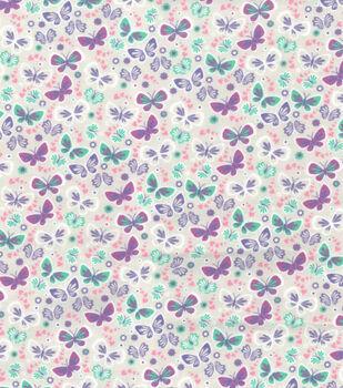 Wide Flannel Fabric -Purple Mint Butterflies