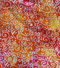 Cotton Batik Apparel Fabric 42\u0022-Orange Pink White Textured Swirls
