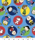 Peanuts Flannel Fabric 42\u0022-Colorful Badges