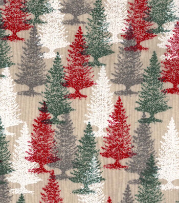 "Snuggle Flannel Fabric 42""-Red & Green Trees"