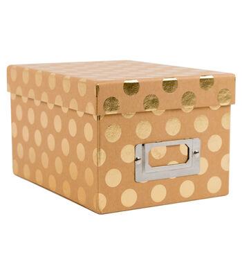 Mini Photo Storage Box-Gold Dots