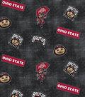 Ohio State University Buckeyes Cotton Fabric -Logo Allover