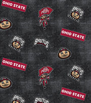 "Ohio State University Buckeyes Cotton Fabric 44""-Logo Allover, , hi-res"