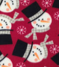 Anti-Pill Fleece Fabric 59\u0022-Red Snowman