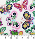 Snuggle Flannel Fabric -Bright Floral Butterflies