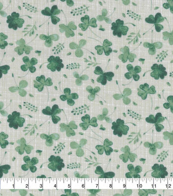 St. Patrick's Day Cotton Fabric-Greenery on Cream
