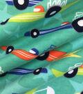 Doodles Juvenile Apparel Fabric 57\u0027\u0027-Race Car Interlock on Teal