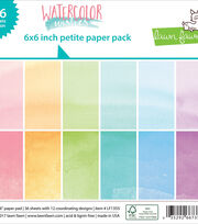"Lawn Fawn Single-Sided Petite Paper Pack 6""X6"" 36/Pkg-Watercolor Wishes, , hi-res"