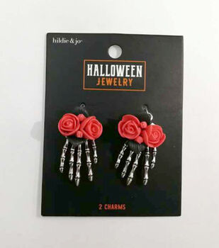 hildie & jo Halloween Antique Silver Skeleton Hands with Flowers Charms
