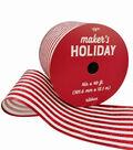 Maker\u0027s Holiday Christmas Ribbon 4\u0027\u0027x40\u0027-Red Glitter & White Stripes