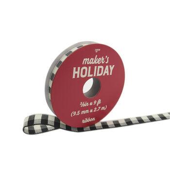 """Maker's Holiday Buffalo Check Ribbon 3/8""""x9'-Black Ivory Check"""