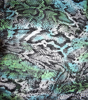 Fast Fashion Yoryu Chiffon Fabric-Lagoon Bright Snake