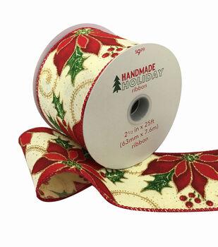 Handmade Holiday Christmas Ribbon 2.5''x25'-Poinsettias on Ivory