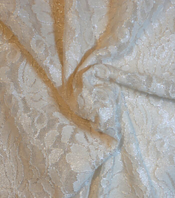 Casa Collection Foiled Lace Fabric -Eggnog