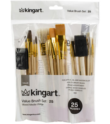 KINGART Paint Brush Value Pack 25/Pkg-Mixed Media