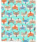 No Sew Fleece Throw-Tribal Foxes On Blue