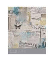Kaisercraft Sticker Book 6''X8'' 12/Pages-Antiquities, 6 Designs/2 Each, , hi-res