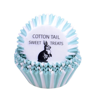 Easter 75 pk Cupcake Liners-Turquoise Stripes & Cottontail Sweet Treats