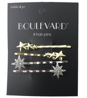hildie & jo Boulevard 4 Pack Gold & Silver Star Hair Pins-Crystal, , hi-res