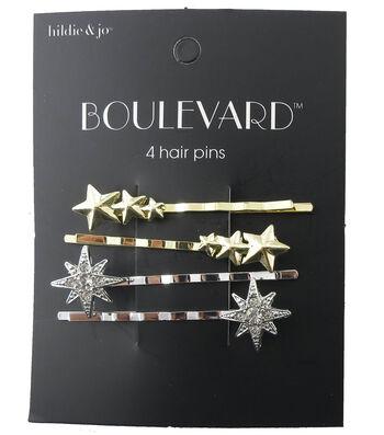 hildie & jo Boulevard 4 Pack Gold & Silver Star Hair Pins-Crystal