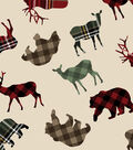 Snuggle Flannel Fabric-Patterned Trap Wilderness Animals